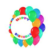 round frames of colorful balloons in the style of realism. to design cards - stock illustration