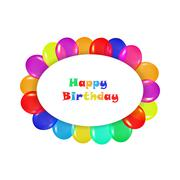oval frame of colorful balloons in the style of realism. to design cards - stock illustration