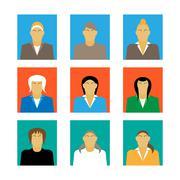 set of businesswoman profile icon female portrait flat design vector - stock illustration