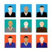 Colorful business Male Faces  Icons Set in Trendy Flat Style Stock Illustration