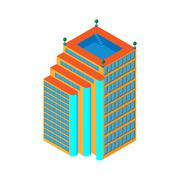 Stock Illustration of flat 3d isometric skyscraper. business center with a pool on the roof and three