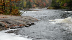 Small rapids and colorful autumn forest at Oxtongue river Stock Footage