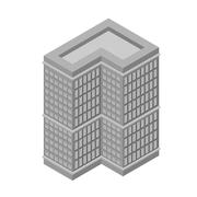 Isometric skyscraper, tall building. Isolated on white background. Vector - stock illustration