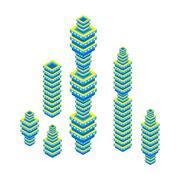 flat 3d isometric set of skyscraper. business center. Isolated on white - stock illustration