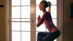 Young Attractive Beginner Woman Tries Yoga Struggles - stock footage