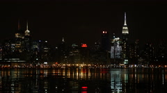 Manhattan Skyline at Night Stock Footage