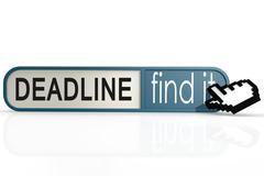 Deadline word on the blue find it banner Stock Illustration