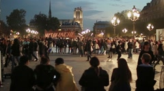 Crowd time lapse in Hotel de Ville at the Nuit Blanche, Paris - Full HD Stock Footage