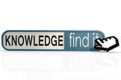 Knowledge word on the blue find it banner - stock illustration