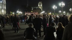 Nuit Blanche Crowd in Hotel de Ville Time Lapse, Paris Stock Footage