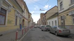 WAdults and children on Iuliu Maniu Street in Cluj-Napoca Stock Footage