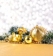 Stock Photo of Christmas decorations on a silvery background