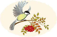 Tit takes sits down with Rowan branches with berries. EPS10 vector illustration Stock Illustration