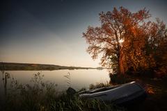 Bright night on the lake Stock Photos