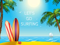 Summer  Travel  Poster Surfboards  Background - stock illustration