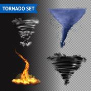 Realistic 3d Tornado Set Stock Illustration