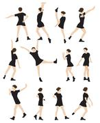 Silhouette of a Dancing Woman Vector Illustration - stock illustration