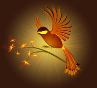 Bird of Paradise with flowers on a dark background. EPS10 vector illustration - stock illustration