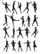 Silhouette of a Dancing Woman Vector Illustration Stock Illustration