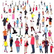 Set of People. Children, Adults, Seniors. Vector Illustration - stock illustration