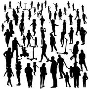 Stock Illustration of Set of People. Children, Adults, Seniors. Vector Illustration