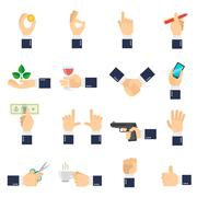 Business Hand Icons Flat - stock illustration