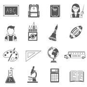 Education Icons Black Set - stock illustration