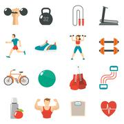 Fitness Icon Flat Set - stock illustration