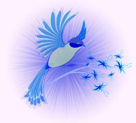 Bird of Paradise with flowers. EPS10 vector illustration - stock illustration