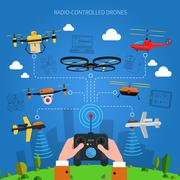 Radio-controlled Drones Concept - stock illustration
