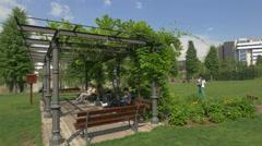 WSteel pavilion in Iulius Park, Cluj-Napoca Stock Footage
