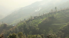 Agricultural Terraces Himalayas Nepal Stock Footage