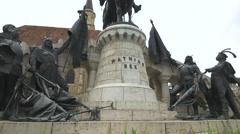 WMathias Rex monument in Cluj-Napoca Stock Footage