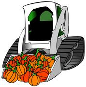 Small tractor load of pumpkins Stock Illustration