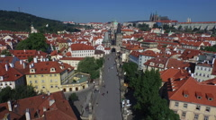 Stock Video Footage of Aerial view of Lesser Town with a gate tower in Prague