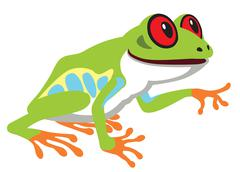 red eye tree frog - stock illustration