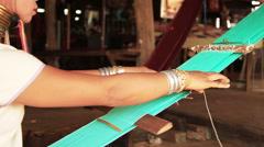 Padaung Tribe Women Weave - stock footage