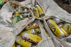 Aluminium cans ready for recycling Stock Photos