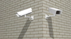 Two Exterior Security Cameras - stock footage