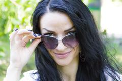 Brunette in sunglass Stock Photos
