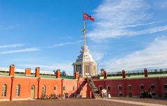 Serf Russian Navy flag on the flagpole in the Peter and Paul Fortress - stock photo
