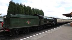 Steam engine at Bishops Lydeard Station Somerset UK Stock Footage