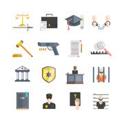 Justice Icons Set - stock illustration
