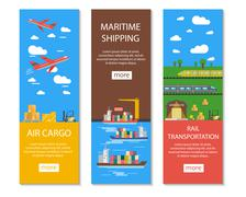 Logistics And Delivery Banners Set Stock Illustration