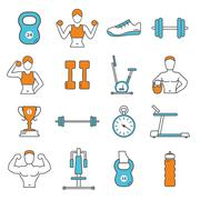 Fitness Flat Color Line Icons Set - stock illustration