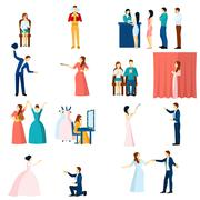 Theater actors flat icons set Stock Illustration