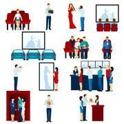 Cinema movie theater flat icons set Stock Illustration