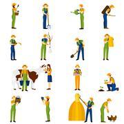 Farmer at work  flat icons set - stock illustration