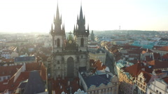 Aerial view of Church of Our Lady before Týn in Prague Stock Footage