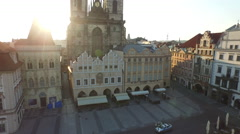 Aerial view of the Church of Our Lady before Týn in Prague Stock Footage